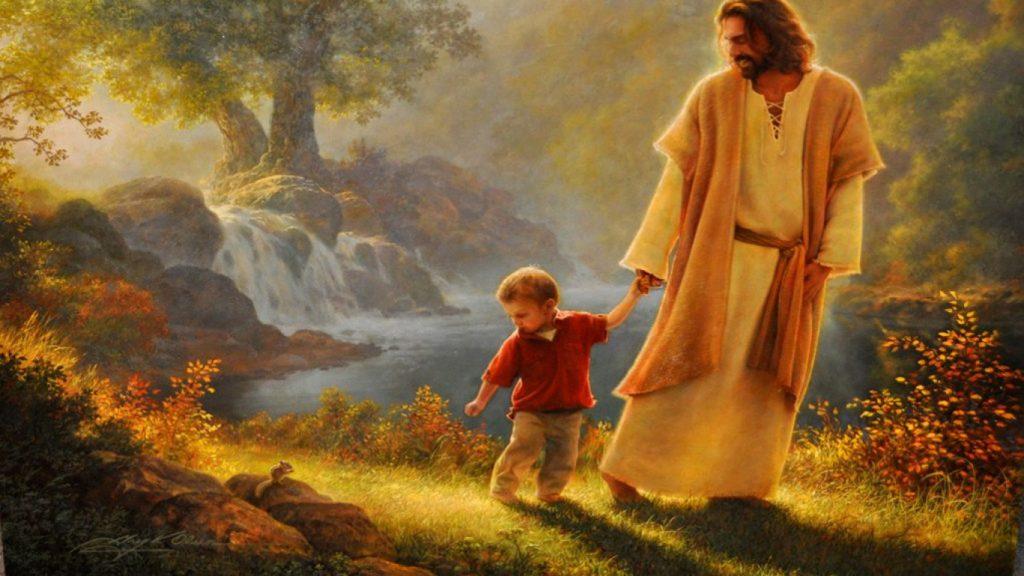 ảnh chúa jesus dắt em bé