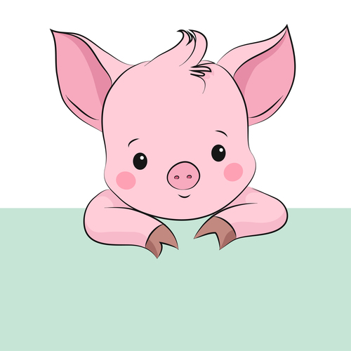 Cute Little Pig. Cartoon Vector Character
