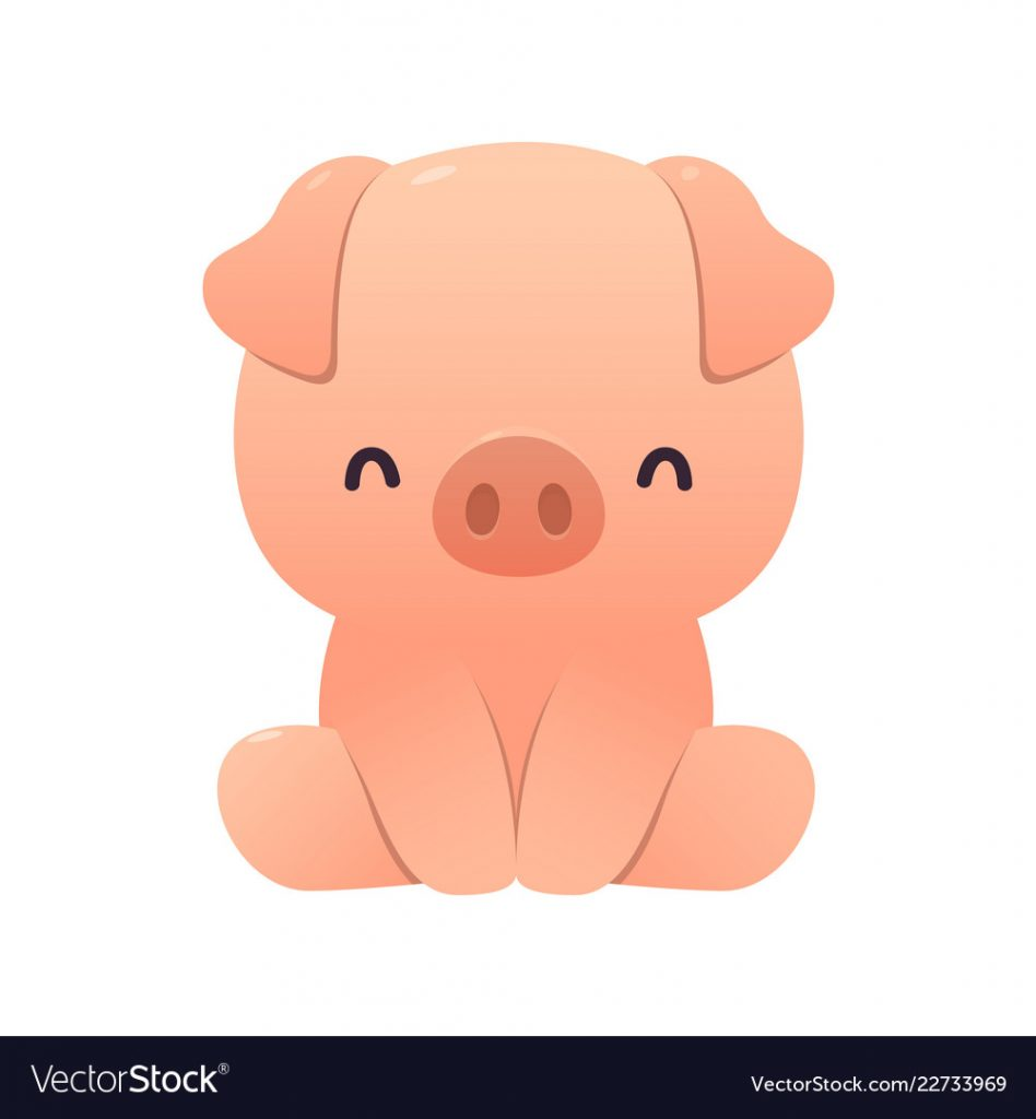 Vector Illustration Of Cute Pig Cartoon Sitting On White Background