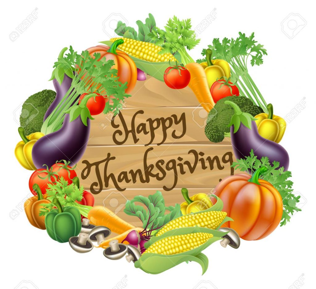 Happy Thanksgiving Vegetable And Fruits Design