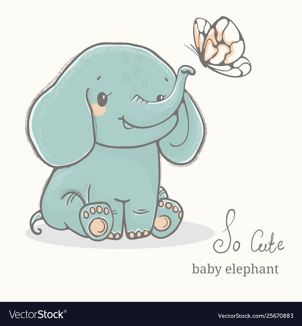 Baby Elephant With Butterfly Illustration, Cute Animal Drawings