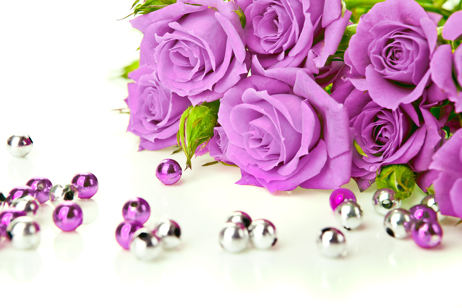 Purple Roses And Beads