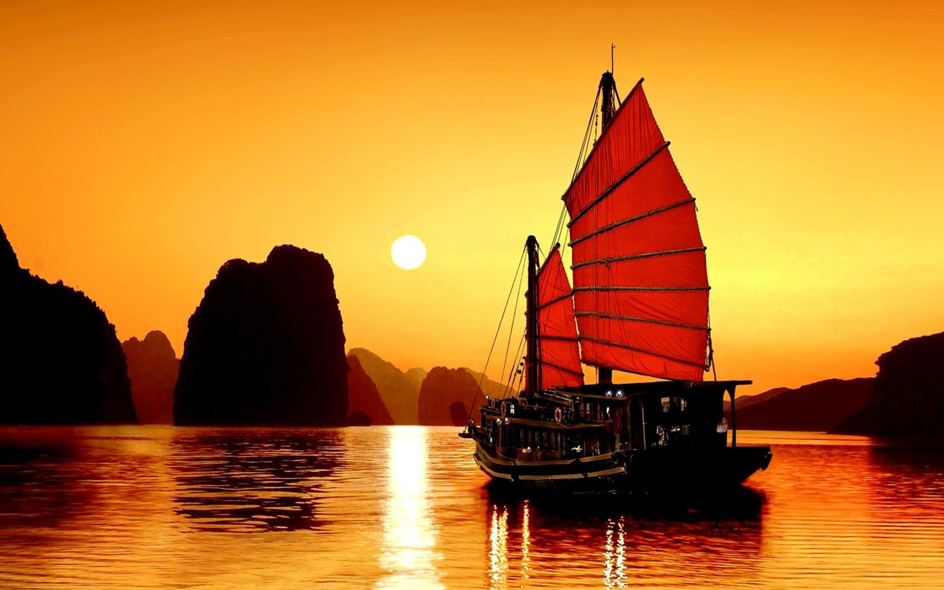Hình Nền Thuyền Buồm Và Hoàng Hôn